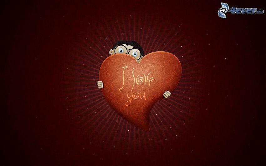 I love you, heart, shy guy