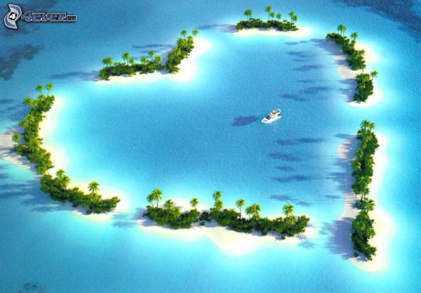 island, heart, tropical sea, palm trees, yacht