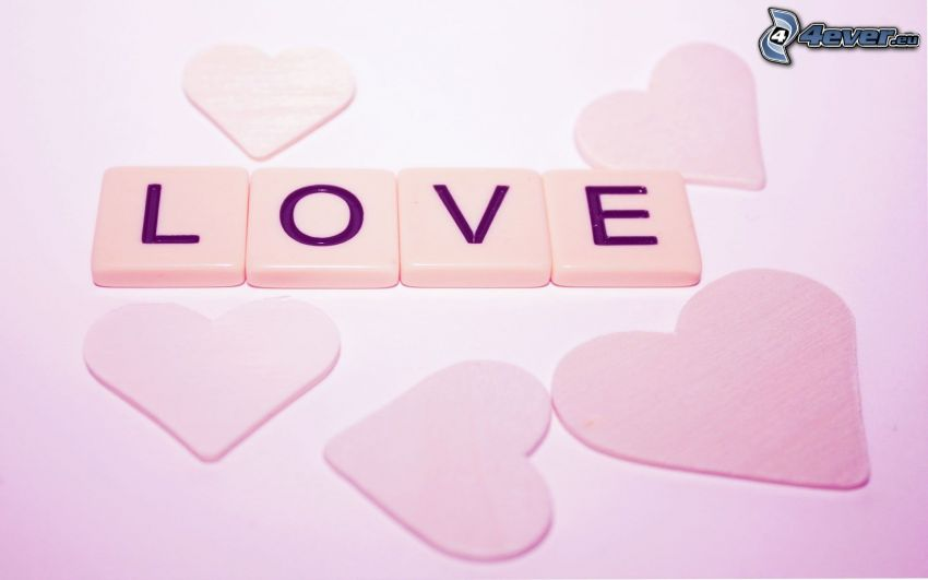 love, Scrabble, hearts