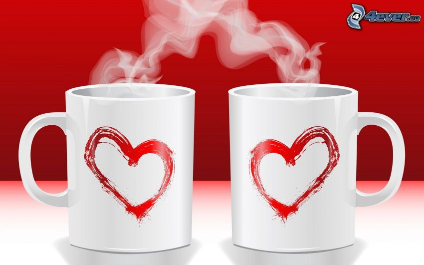 mugs, hearts, steam