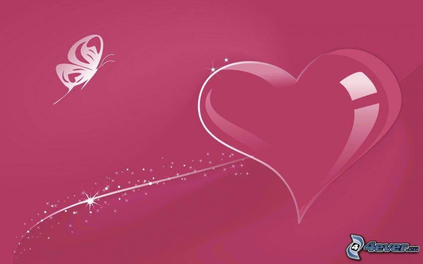 pink heart, butterfly