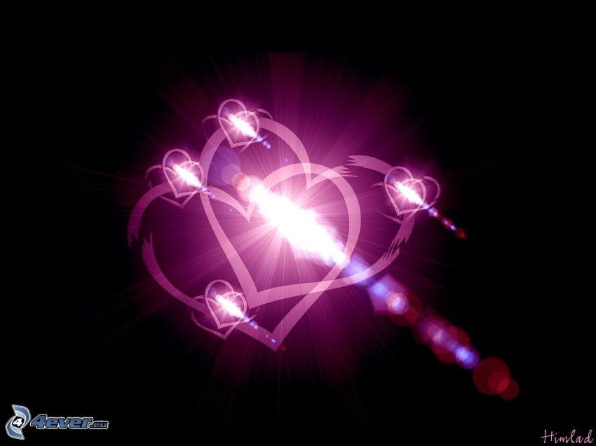 purple hearts, glow, love, digital art