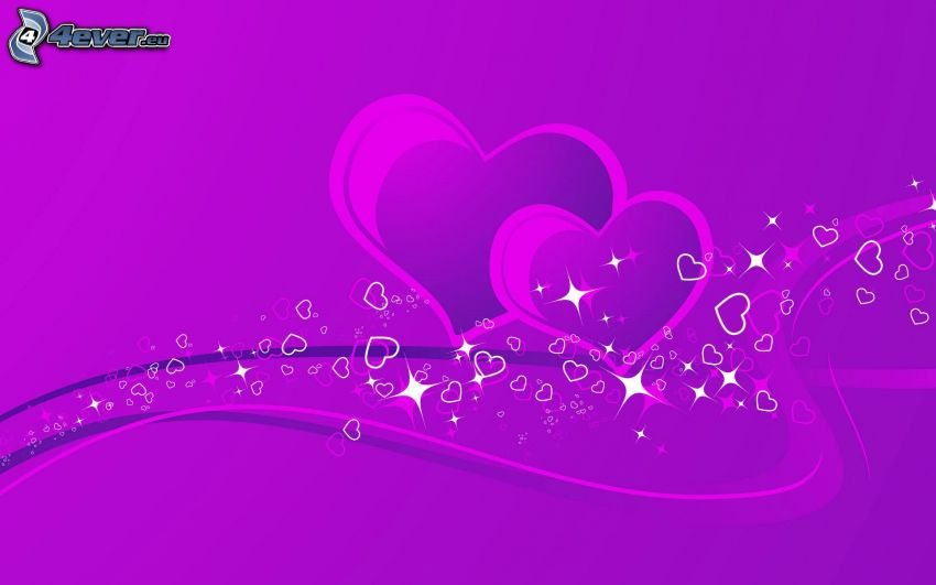 purple hearts, purple lines, purple background