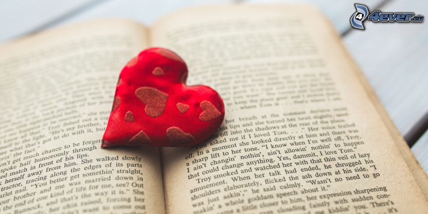 red heart, book