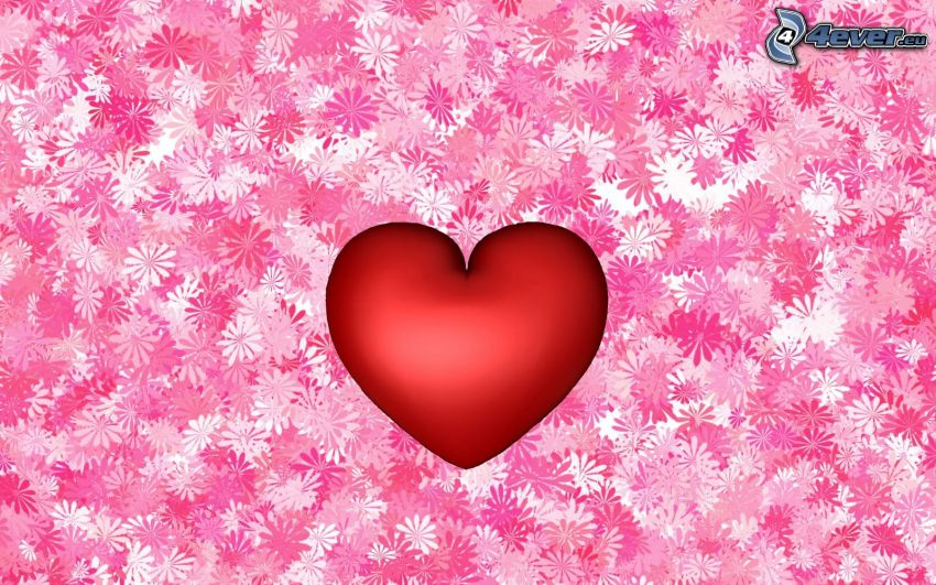 red heart, cartoon flowers