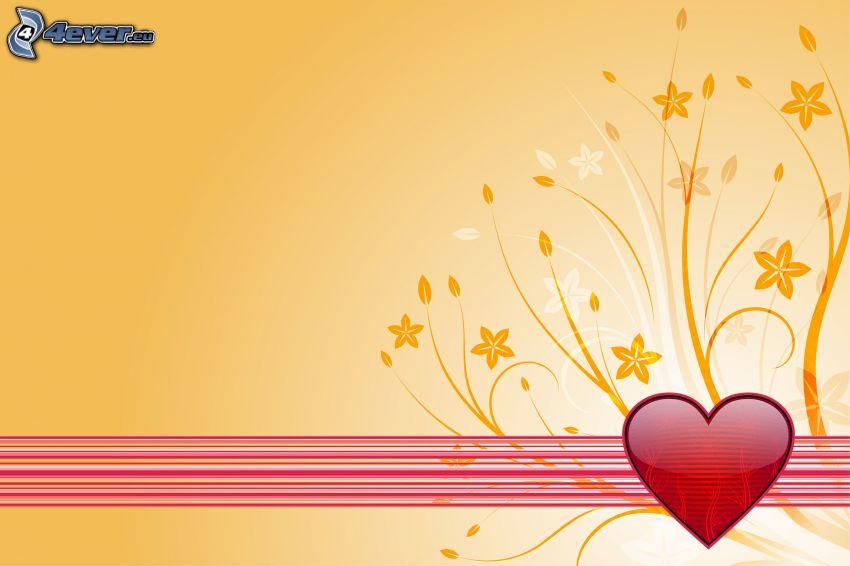red heart, cartoon flowers