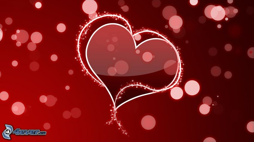 red hearts, circles, red background