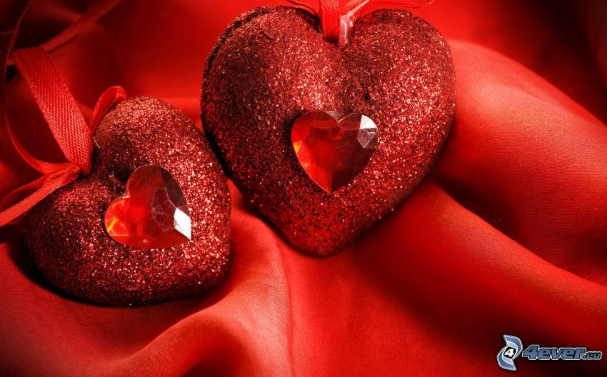 red hearts, silk, red background