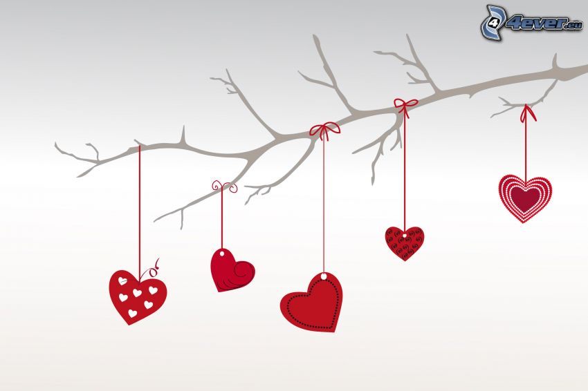 red hearts, twig