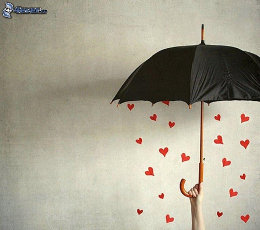umbrella, valentine red hearts, hand