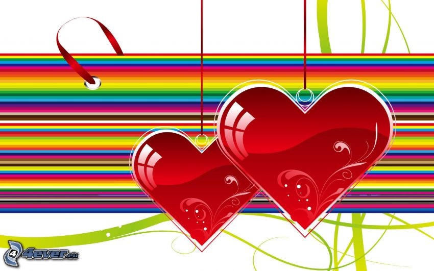 valentine red hearts, colored stripes