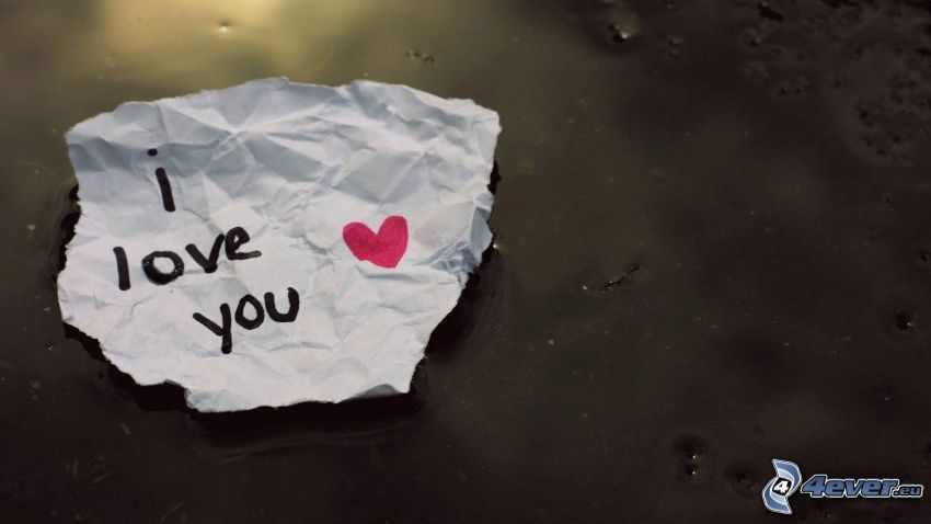 I love you, heart, paper, message