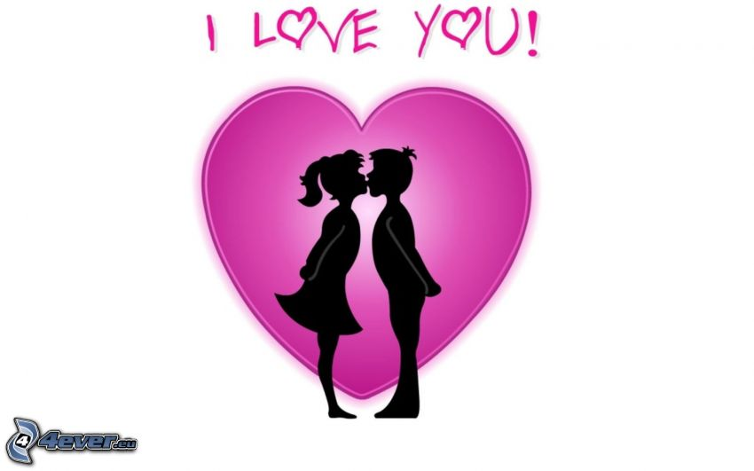 I love you, heart, silhouette of couple, kiss