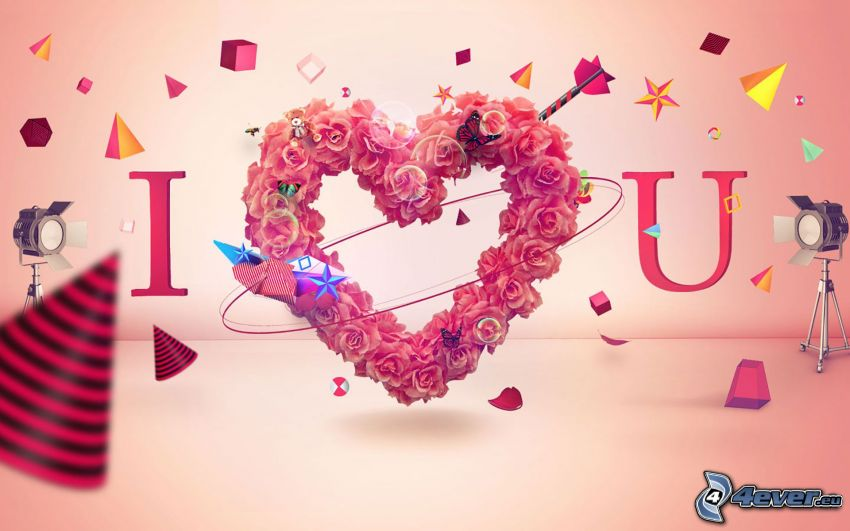I love you, heart of the flowers, shapes
