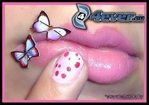 lips, butterfly, nail, finger