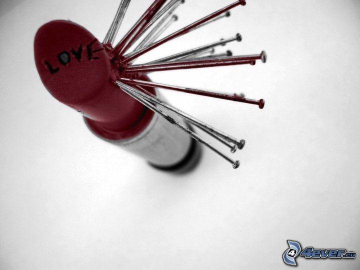 lipstick, pins