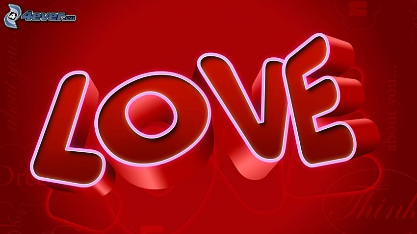 love, red background