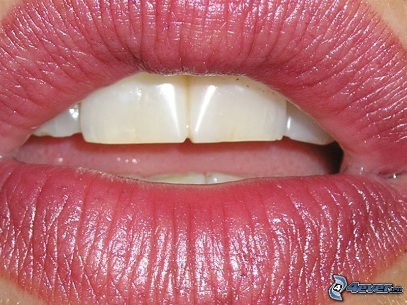 mouth, lips, white teeth