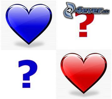 question marks, hearts