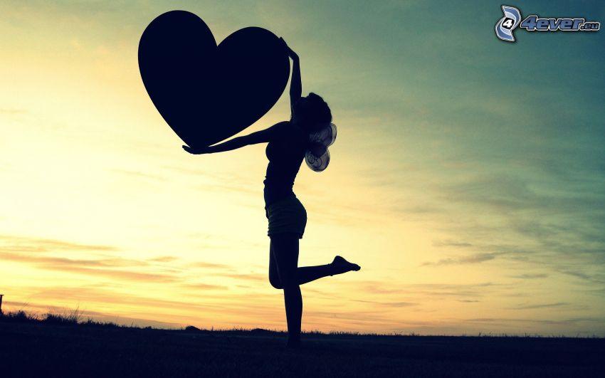 woman silhouette, heart, girl