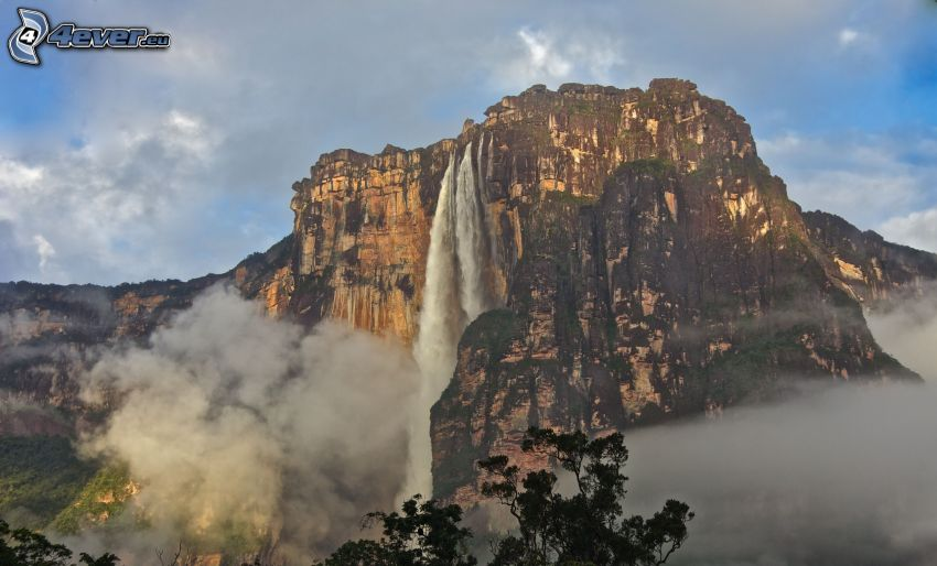 Angel Falls, cliff, clouds, Venezuela