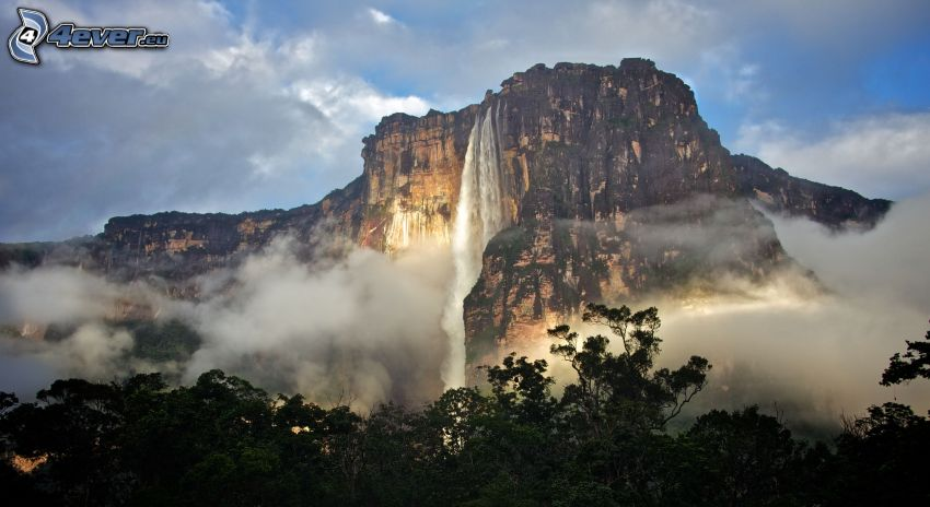 Angel Falls, cliff, forest, clouds, Venezuela