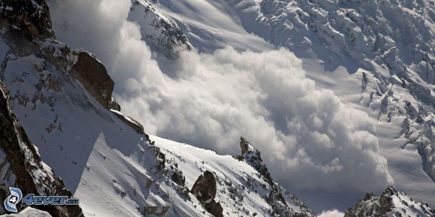 avalanche, rocks