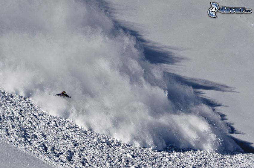 avalanche, skier, snow