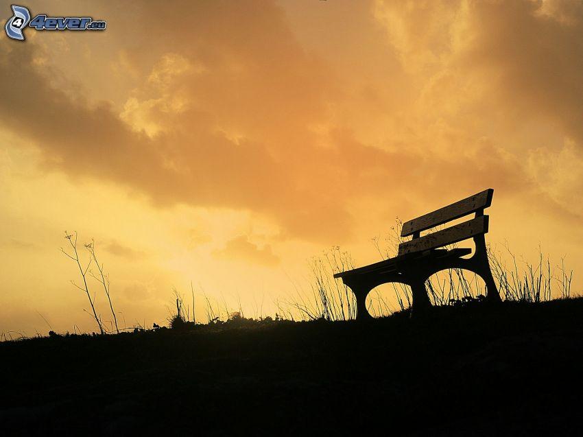 bench, evening sky