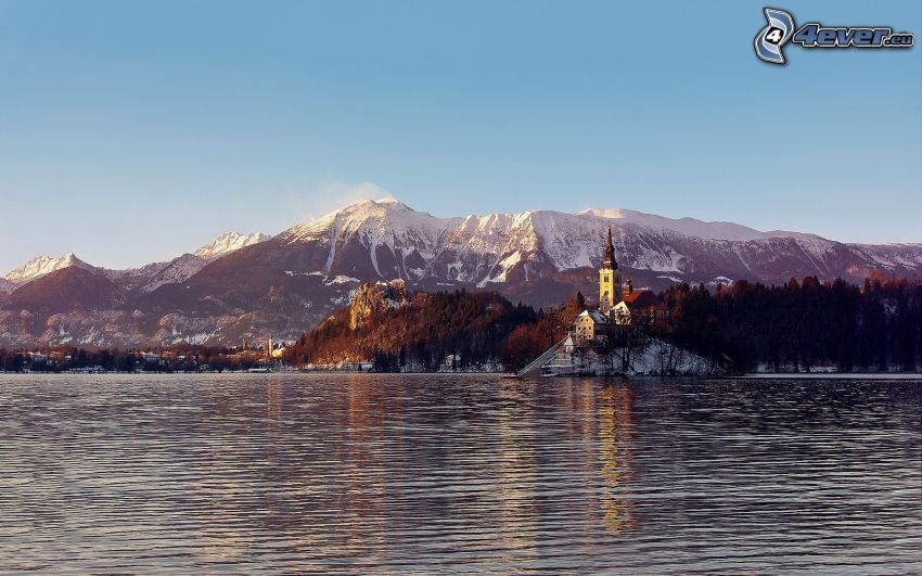 Bled lake, Slovenia, church, Alps, snowy hills