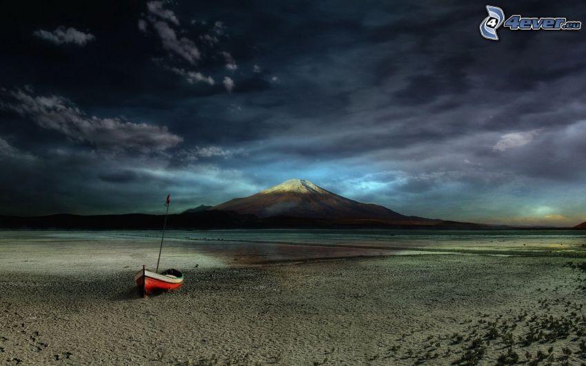 boat, sandy beach, mountain