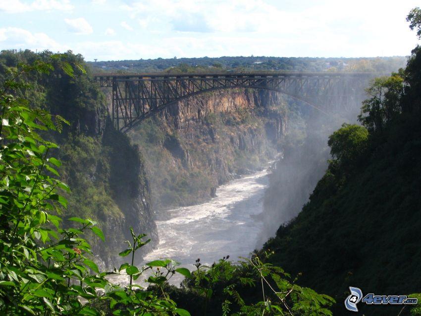 bridge, canyon, River