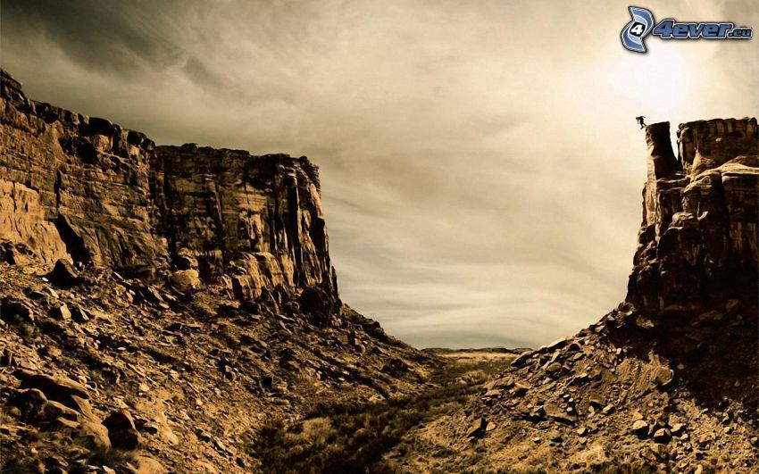 canyon, rocks, clouds