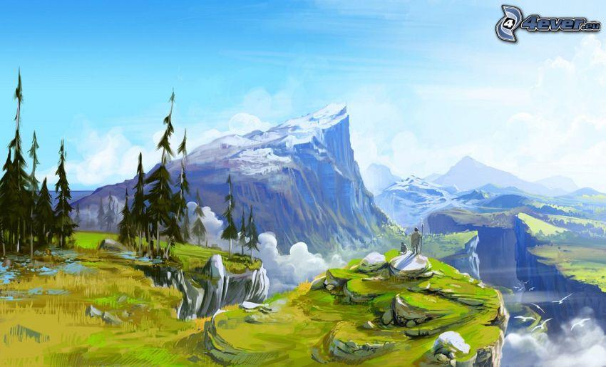 cartoon landscape, rocky hill, trees