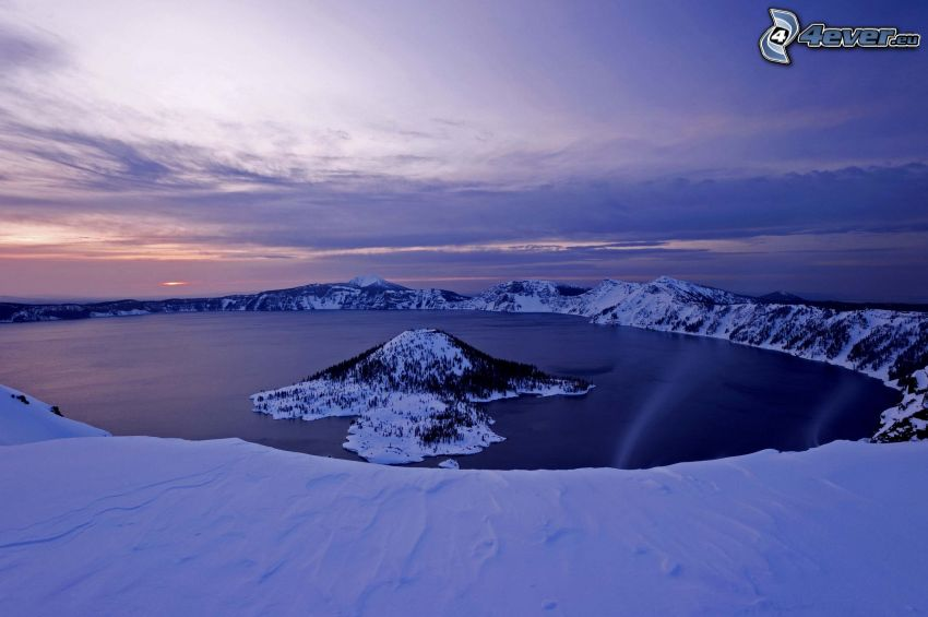 Crater Lake, Wizard island, lake, snowy mountains, evening sky