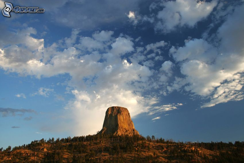 Devils Tower, rock, clouds