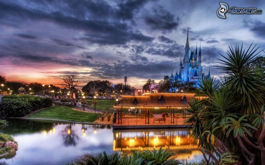 Disneyland, gazebo, lake, castle, evening, lighting, HDR
