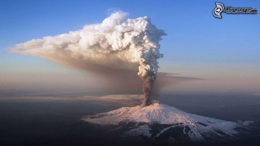 Etna, volcano eruption, snowy hill, volcanic cloud