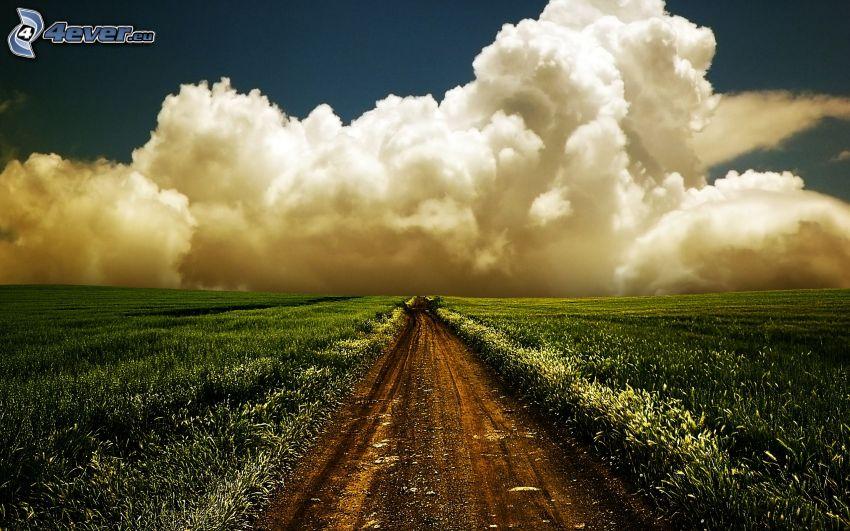 field path, clouds