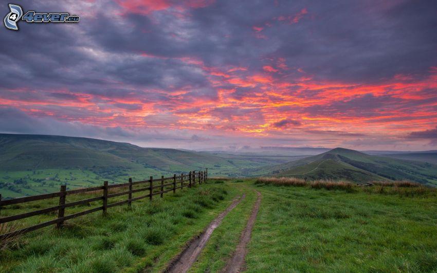 field path, meadow, palings, evening sky