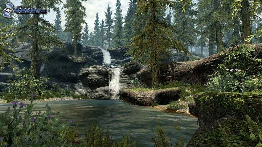 forest waterfall, lake, coniferous forest, rocks