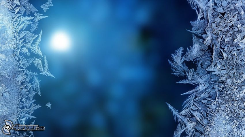 frost, blue background