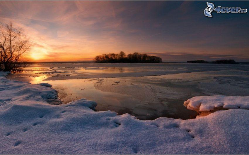 frozen lake, evening sky, snow