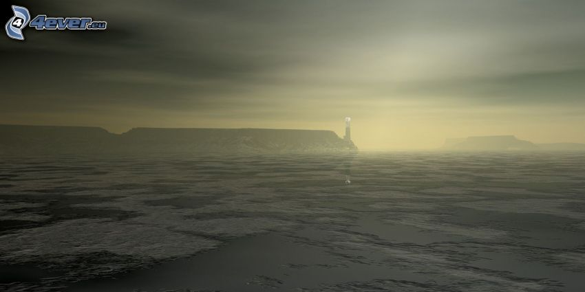 frozen lake, fog, lighthouse