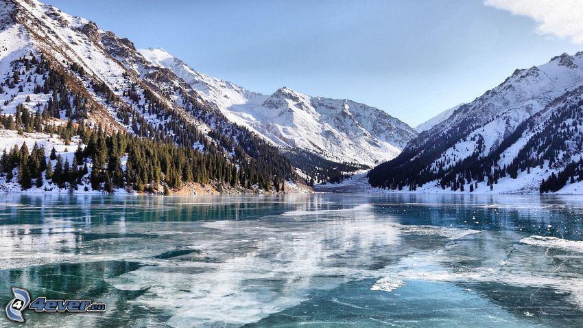 frozen lake, snowy hills