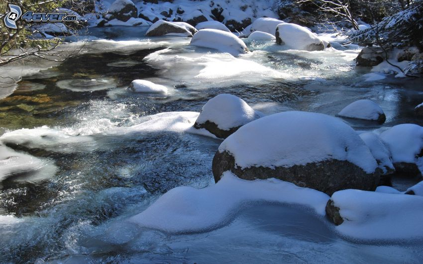 frozen river, river stones, snow