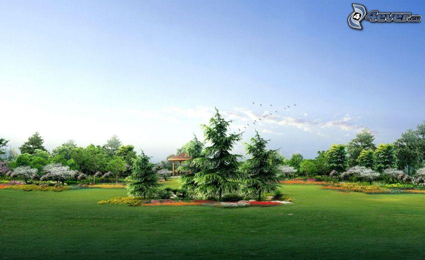 garden, trees, flowers
