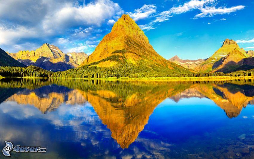 Glacier National Park, lake, hills