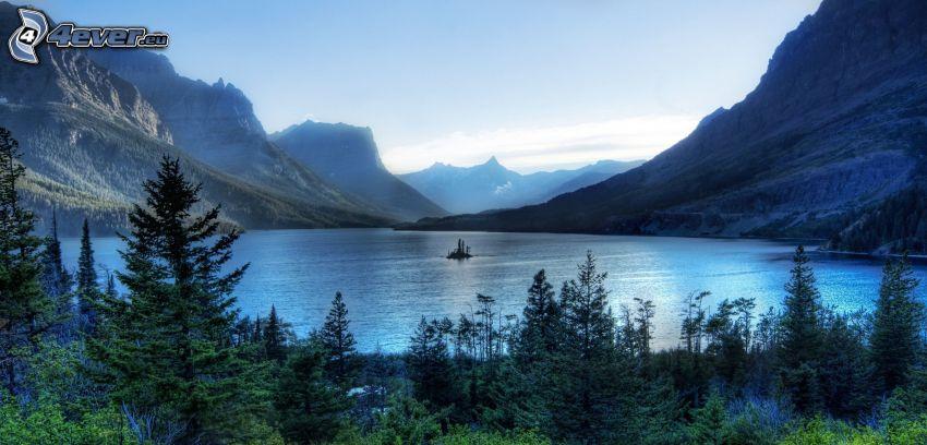 Glacier National Park, lake, mountains