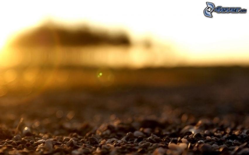 gravel, sunset